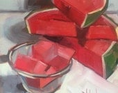Watermelon, Original Oil Painting, 6 x 6 inches, free domestic shipping