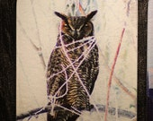 Glass Cutting Board - Great Horned Owl  7.75in  x 10.75in