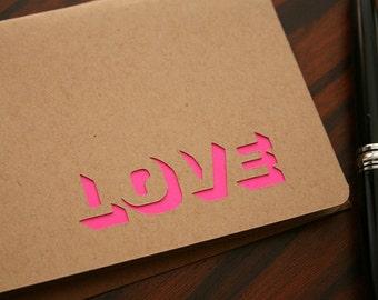 Modern Holiday Greeting Card Love (Blank Inside) Neon Pink Cut Design