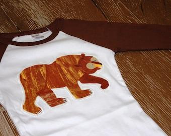 Bear Raglan long sleeve shirt, Ready to Ship, size 2T