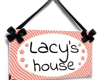 Personalized Pet Door Sign - Cute Coral Pink Waves with Small Dog Paws - P2446