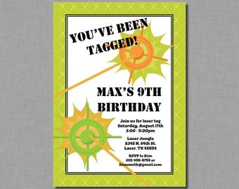 Laser Tag Invitation Birthday Party Boy orange green MC11 Digital or Printed