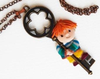 Key Pendant on chain, Art doll, Key necklace, Cute gift, Boy key necklace, Keeper of secrets, Big key