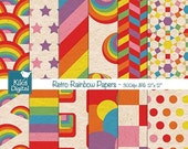 70% SALE Retro Rainbow Digital Papers - Rainbow Scrapbooking Papers - card design, invitations, background, paper crafts -INSTANT DOWNLOAD