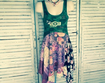 Army Green and Floral Dress XS/S, Upcycled Clothing, Tank Top Dress, Sun Dress, Upcycled Dress
