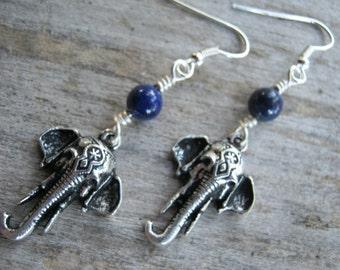Elephant Earrings, Lapis Lazuli Earrings, India Hindu Jewelry, Buddhist Earrings, Boho Earrings, Yoga, Blue & Antiqued SILVER
