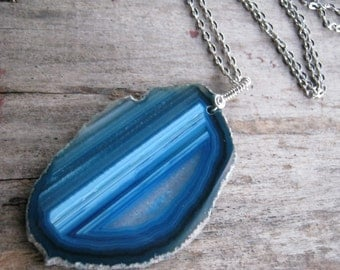 Blue Geode Necklace, LARGE Banded Agate Necklace, Nature Jewelry, Gemstone Necklace, Minimalist, Choose Your Length, READY To Ship