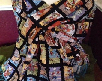 Dia de Los Muertos/Day of the Dead shawl beautiful card fabric
