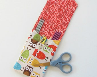 Knitting Needle Case, Knitting Supplies, Crochet Hooks Organizer, Notions Storage Case - Urban Owls Pouch