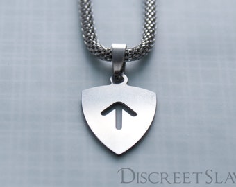 Stainless steel Master's top arch shield. Pendant for owners, Dominant or Masters in a BDSM relationship. Limited Stainless steel collection