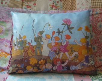 Children and Elves Hand Printed Cushion