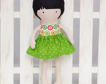Handmade Cloth Doll, Rag Doll, 12 inches Dress Up Doll, Soft Doll,  My Fashion Doll with green and white dotted skirt