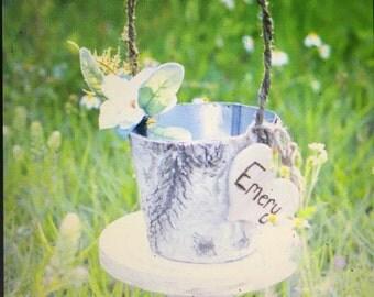 Natural birch flower girl basket wedding decor