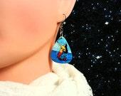 Mermaid La Serena La Luna Loteria Mexican Bingo Guitar Pick Earrings