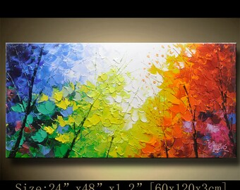 Original Abstract Painting, Modern Textured Painting,Impasto Landscape Textured Modern Palette Knife Painting,Painting on Canvas byChen hh80