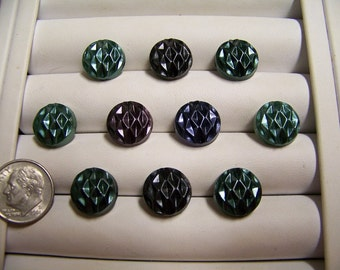 Set of 10 Small Frosted Shank Buttons 1/2""