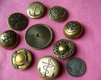 Lot of 9 Large Vintage Gold Tone Metal Shank Buttons