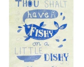 Fishy on a Dishy tea towel