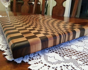 Checkerboard Butcher Block / Chopping Block In Walnut and Maple