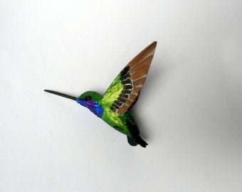 hummingbird art paper mache sculpture  bird ornament