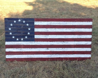 Local Pickup Only!!! Rustic Betsy Ross American Flag wall decor in rustic wood, 3 feet tall by 6 feet wide, pickup in Edmond, OK today!