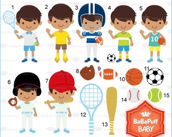 Boy Sports Clip Art ---- Summer Bronze Skin Kids Football Basketball Tennis Sporty Children. Personal and Small Commercial Use ---- BB 0871