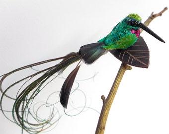 Hummingbird Fascinator, little green bird grip, birdie hair slide, faux taxidermy birdie ornament