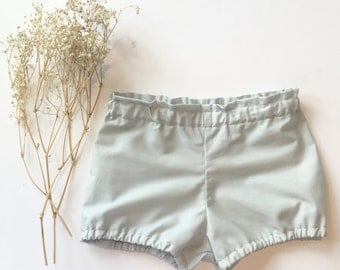Baby bloomers • Gray Vintage Cotton Fabric • Gender Neutral Shorties