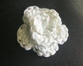 Small White Crochet Rose Flower Applique Set of 3.
