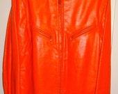 Vintage 1960's Rare Bates Cafe Leather Jacket Chopper 42 LL Orange Harley HD