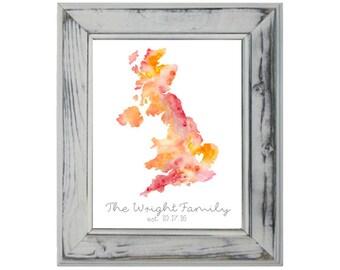 United Kingdom Watercolor, 8x10, Art Print, Wall Print, Wedding Gift, Engagement Gift, Gallery Wall, Custom