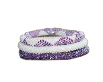 Neon Purple and White Handmade Beaded Bracelets Set,Seed Beads,Nepal, BS514