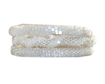 Summer Sparkly White and Silver Crocheted Beaded Bracelet Set,BS121