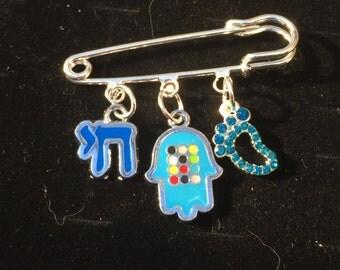 Baby boy pin/ Judaica/ Hamsa/ Baby feet charm/ Hamsa decorated pin/ Good luck pin/ Baby shower/ Hay charm/