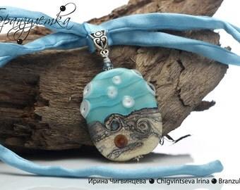 Pendant Breeze - Marine lampwork bead silk cord blue sand sea water