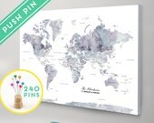 Personalized Push Pin World Map CANVAS Marble Watercolor - Countries, Capitals, USA and CANADA States - Gift Idea Pin It Map, 240 Pins