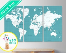 Canvas World Map Push Pin Map Large Size Ocean Color - Set 3 CANVAS - Countries, Capitals, USA - CANADA states - 480 Pins Included