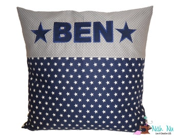 embroidered PILLOW with NAME and STARS dark blue / gray, 40 x 40 cm, incl. Feather Filling