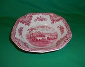 "One (1), 7 1/8"" Square Soup Bowls, from Johnson Bros., in the Old Britain Castles Pink Pattern,"