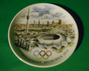"One (1), 1972, 4"" Round, Porcelain Dish, Souvenir of the Munich Olympics"
