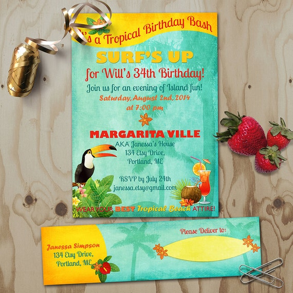 Tropical birthday invitation with address labels retro beach il570xn stopboris Images