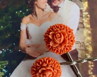 Decorative 1930's Woodland Rose Coral Celluloid Fall Autumn Bridal Hairpins Bobby Pins