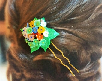 Decorative Hair Pin 1920 1930 Vintage Floral l Bridal Wedding Czechoslovakia Hairpin