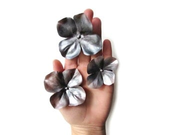 Silver Hydrangea Fabric Flower Bobby Pins. Deep Mauve + Metallic Charcoal Grey Floral Hair Accessories. Hair Clips for Brides, Bridesmaids.