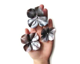 Silver Hair Pins, Flower Hair Clips, Hydrangea Hair Pin, Fabric Flowers, Metallic Bobby Pins, Deep Mauve and Charcoal Grey, Hair Accessories