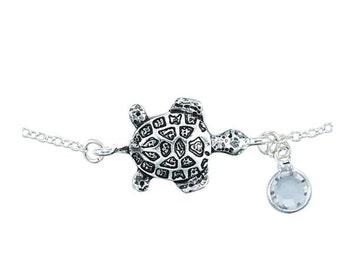 Sea Turtle with Crystal Anklet, sea turtle anklet, Sea Turtle Birthstone Ankle Bracelet, ON SALE Turtle Ankle Bracelet, Turtle Anklet, blue