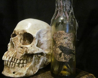 Halloween Potion Bottle/Jar Crow Feathers