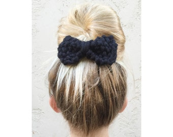 Knit Bow, Hand Knitted Bow in Black, knitted hair accessories