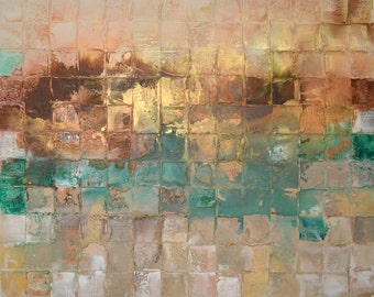 NEW ART Huge Original Mosaic Art by Caroline Ashwood - Textured and contemporary abstract painting on canvas - Free Shipping