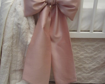 Crib Bows: neutral baby bedding, crib bedding, faux silk crib bow, baby girl bedding, curtain tie back, Custom Made to Order
